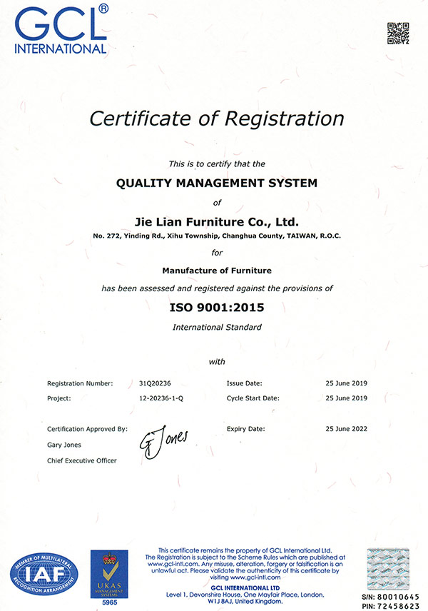 GCL ISO 9001 & UKAS 5965 / Registration Number:31Q20236